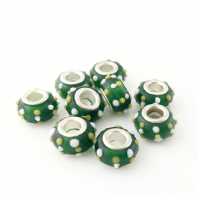 10 Lampwork Glass 14x9mm European Charm Beads Green